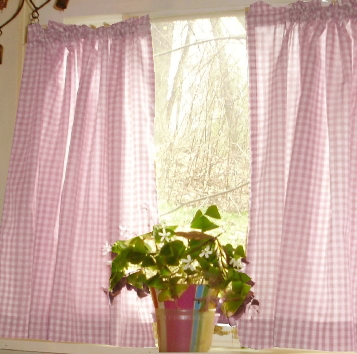 Light Pink Gingham Kitchen/Café Curtain (unlined or with white or blackout lining in many custom lengths)