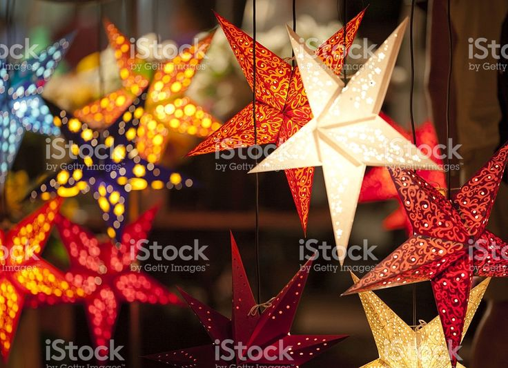star shaped laterns, festively christmas decoration royalty-free stock photo