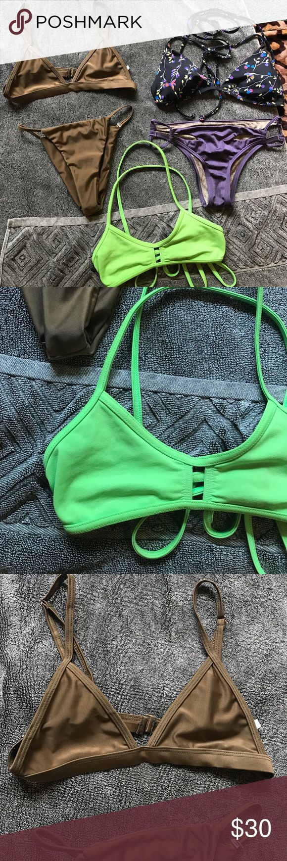 Bikini bundle 👙 Bikini bundle! None have tags, the lime green one I really don't know the brand but it's super cute, pushes your boobs up nice 😆 the brown one has a teeny tag that says small but no brand either! Brazilian cut-high leg. The last one, the purple bottoms are size small and from VS. has little slits on the front and back! The top has a teeny Hurley tag, black with bright colored flowers and birds, very cute. A coral colored inside, you could probably wear it reversed. Not…