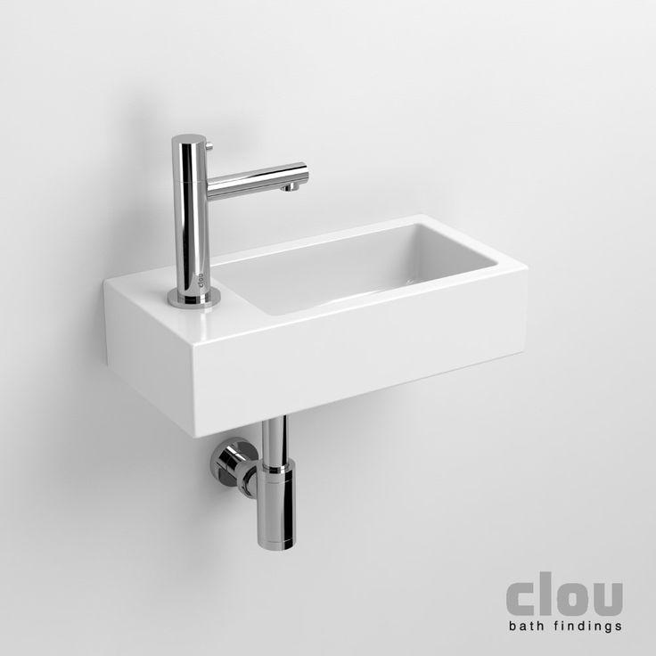 Clou Flush 3 fontein met kraangat en plug links wit keramiek B36xH9xD18cm - CL/03.03032 - Sanitairwinkel.nl