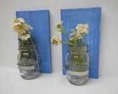 Set of 2 Shabby chic rustic style handcrafted wooden wall sconce for candles, flowers, household storage, etc with mason jar. $30.00, via Etsy. Planning on buying these in distressed green to go with the wall organizer. Can't wait.