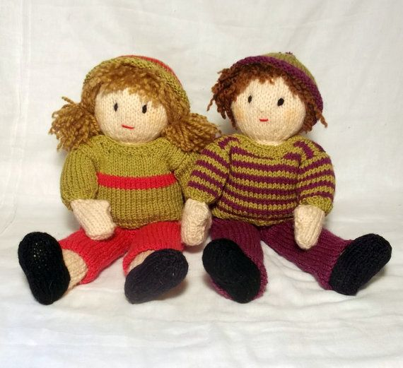 Jesse and Josie Knitted Dolls Pattern by ClaireFairallDesigns