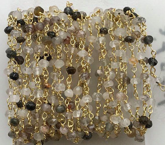WHOLESALE 4.75 FEET Multi Rutile Faceted Rondelle by gemsforjewels
