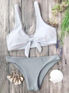 Padded Knotted Bralette Bikini Set - Grey And White M