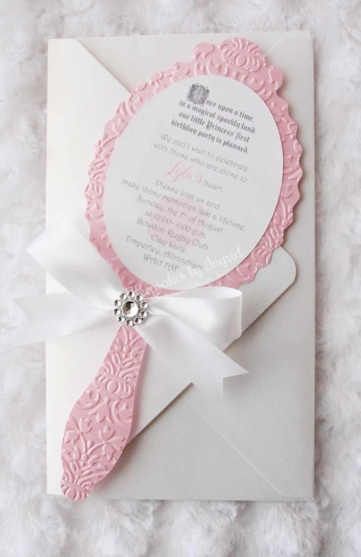 Hand mirror invitation, perfect for a princess or fairytale party. To order go to my Etsy store: Fairytale Invites or to my Facebook page: Keepsakes by Ingrid