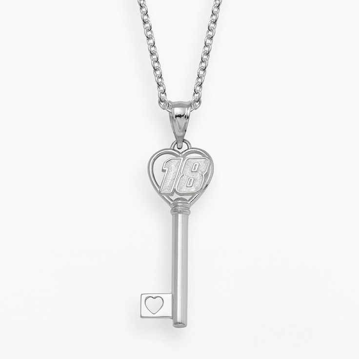 """Insignia Collection Nascar Kyle Busch Sterling Silver 18 Heart Key Pendant, Women's, Size: 18"""", Grey"""