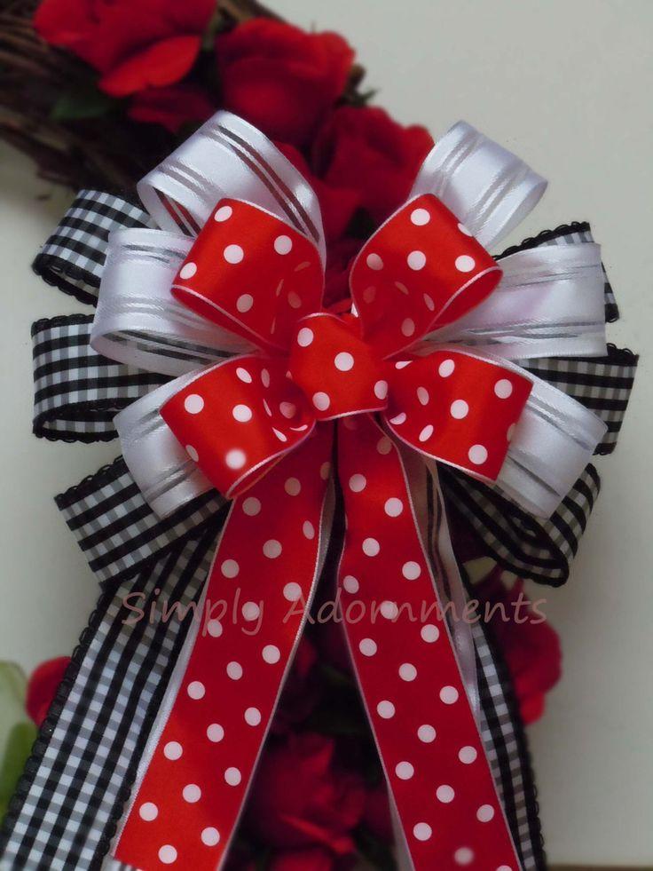 Red Black Polka Dots Bow Mickey Disney Birthday Decor