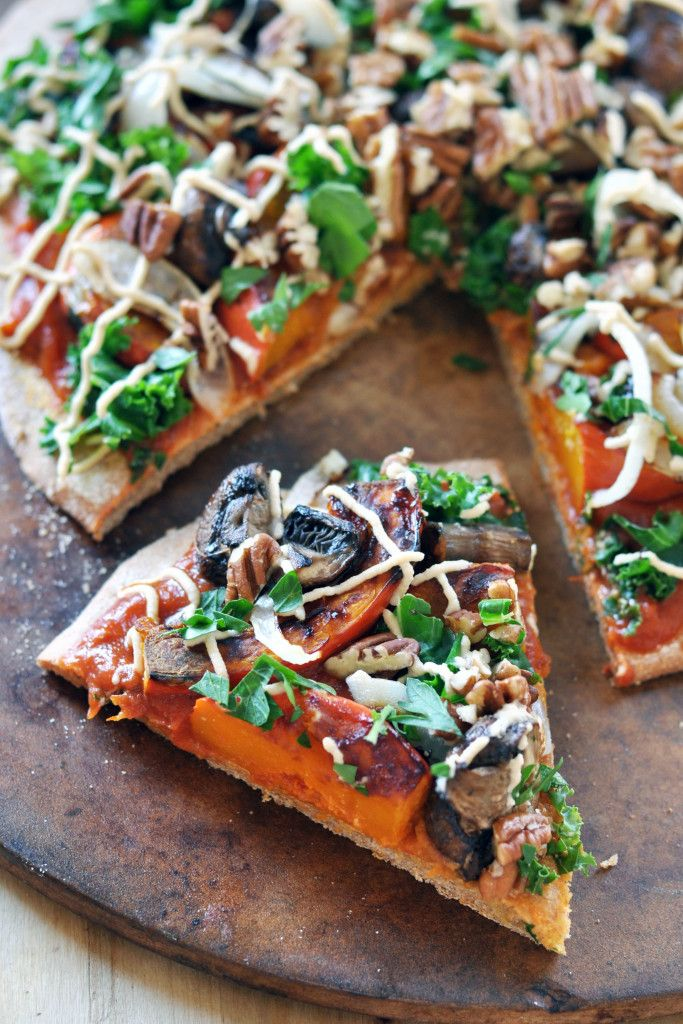 Recipe for vegan harvest pizza with cashew cheese. Posted on thecolorfulkitchen.com by Ilene.