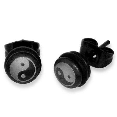RVS oorbellen Yin-Yang Circle Stud - Heren sieraden » Lookinggoodtoday.com