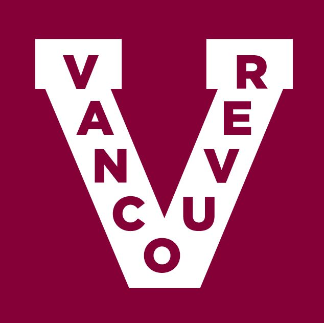 Vancouver Canucks Alternate Logo (2013) - A white V with Vancouver in maroon.