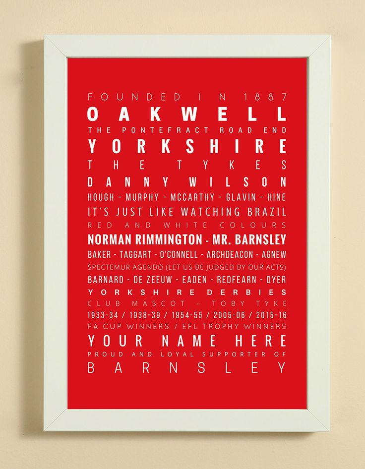 Barnsley Football Club Word Art Design Print - Words, Names And Facts Associated With Barnsley FC - In White Or Black A4 Box Frame