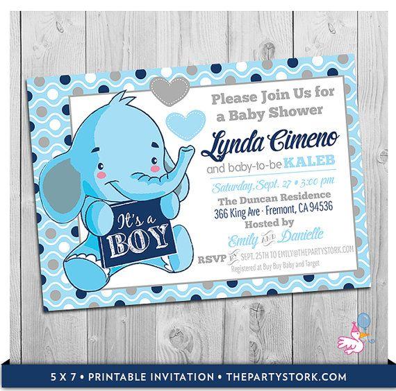 Elephant Baby Shower Invitation | Printable Little Peanut