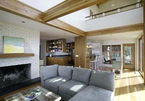modern living room by Hammer Architects: Modern Living Rooms, White Bricks, Livingrooms, Hammer Architects, Painted Bricks, Painted Fireplaces, Brick Fireplaces, Beach Styles, Design