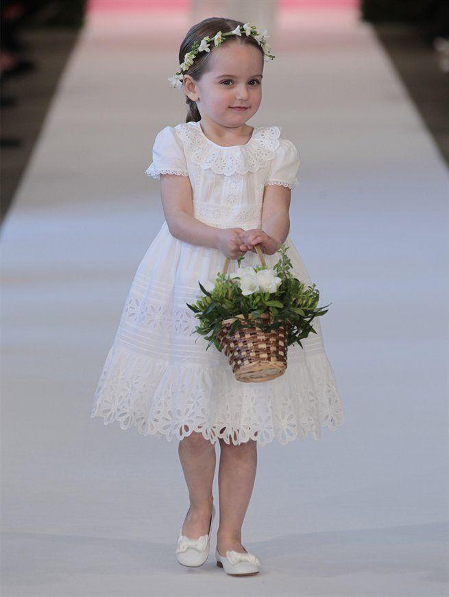 Flower girl eyelet dress oscar de la renta spring 2015 wedding bridal