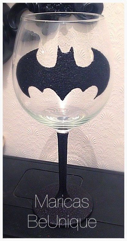 Handmade Batman Large Wine Glass by MaricasBeUnique on Etsy