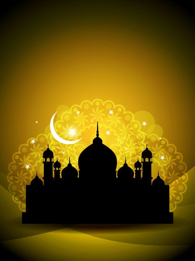 Glowing Islamic Mosque Sillhouette Vector
