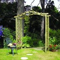 Elite Portico wide wooden garden arch. This unique design allows space for hanging baskets above the side trellising. Made of pressure treated, planed timber and finished in pale green and suitable paths from 1.3m to 1.9m wide. £139.22 from #AWBSLandscapingSupplies  #GardenIdeas #WoodenGardenArches #ArchesForGardens
