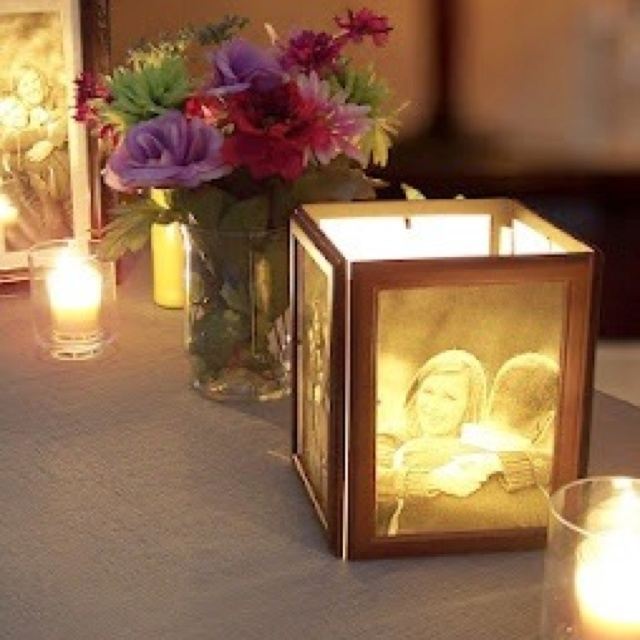 92 best images about rehearsal dinner ideas on pinterest for Picture frame candle centerpiece