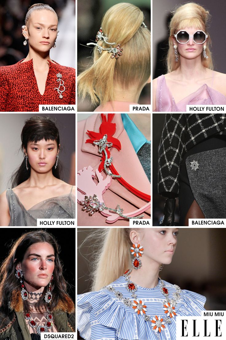 Bling is back! After seasons of oversized jewelry with minimal design, we've made a return to very feminine, sparkly jewelry, like the brooches at both Prada and Balenciaga and the big earrings that were pretty much everywhere.   - ELLE.com