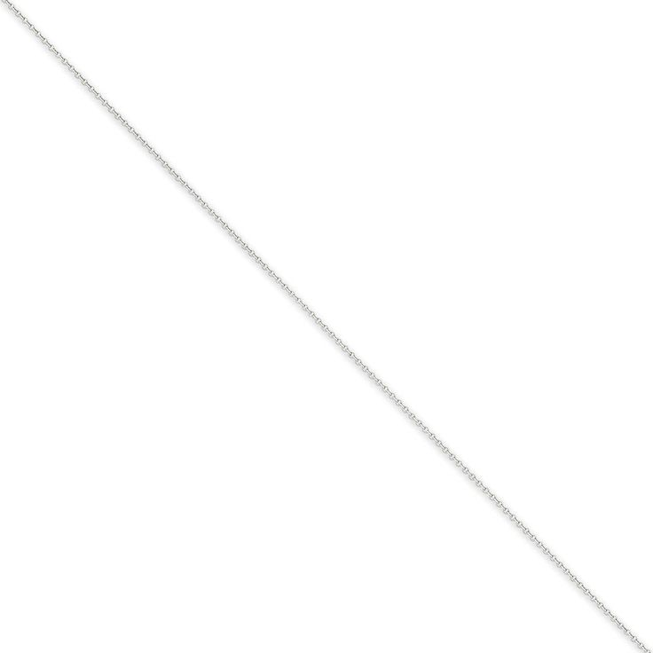 """14K White Gold .9mm Cable Chain Necklace, 18"""". 14k white gold chain necklace. Approximately 18 inches long. Chain width is approximately 0.9 mm. Spring ring clasp. Packaged in ribbon bow jewelry box."""