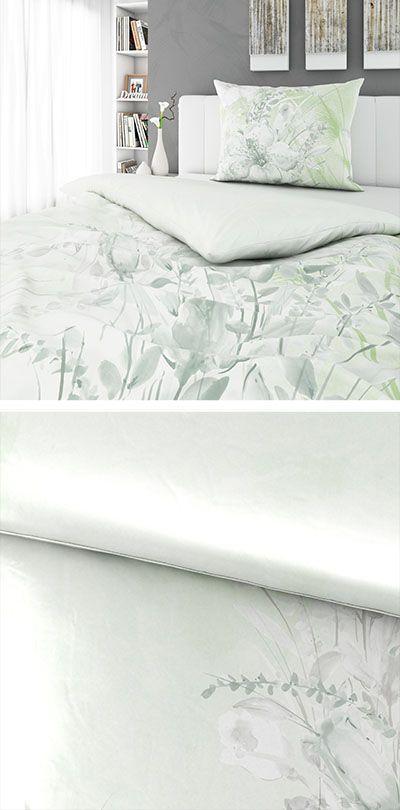 Bettwasche Weiss Mit Grunem Muster 140x200 Bettwasche Pinterest