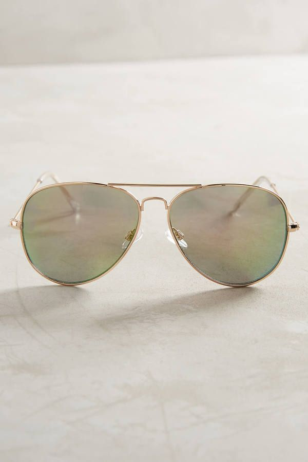 Anthropologie Mirrored Aviator Sunglasses