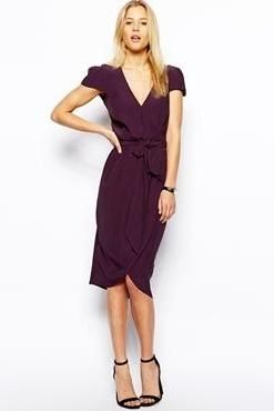Good mid-length skirt! ASOS Midi Wrap Dress With Tulip Skirt <3 this for work