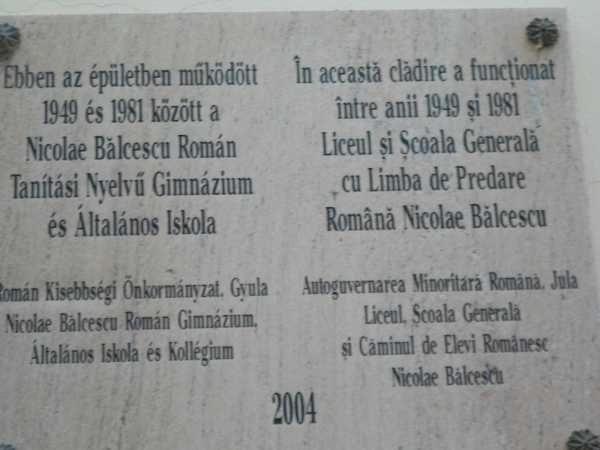 Placuta comemorativa liceu românesc