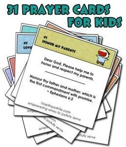 31 Prayer Cards for Kids – Free Printable www.247moms.com #247moms