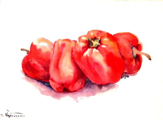 Red Bell Peppers, Original watercolor painting, 9 X 12 in, red kitchen wall art, peppers painting
