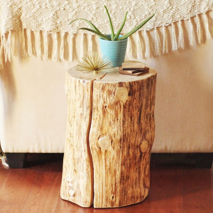 Today I'm showing you how we made our very own DIY Natural Tree Stump Side Table for $99 that compares to a $249 table from West Elm $249!
