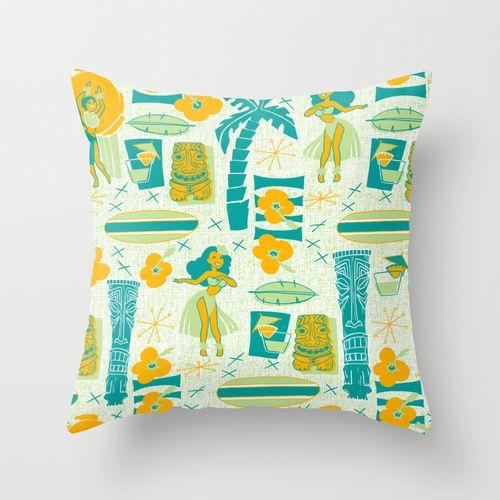 Mid-Century Tiki Throw Pillow