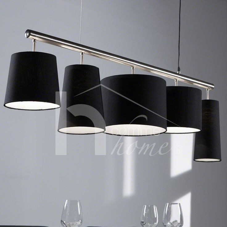 150 luminaire suspension contemporain en nickel chrom for Luminaire noir suspension