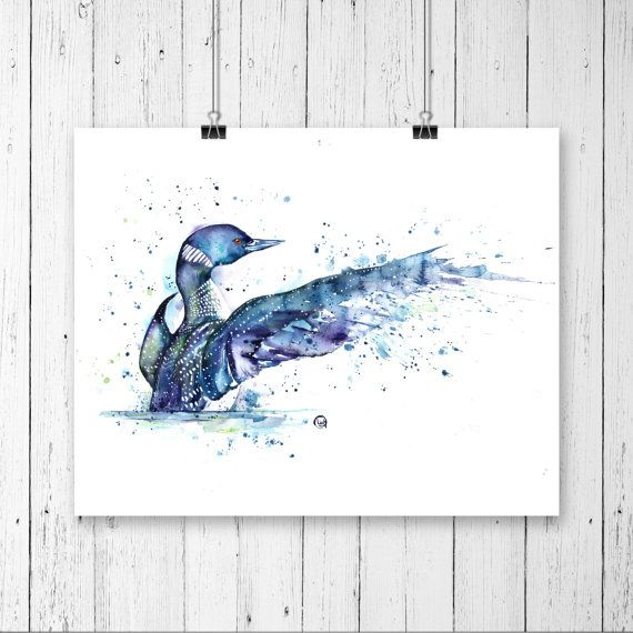 Loon, Bird art, Canadian Wildlife, Cottage decor, loon watercolour, Loon print, Bird print, Bird lover, Cottage art, loose watercolour