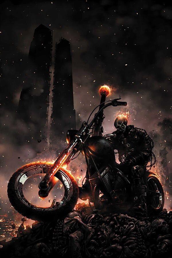 Brutales ilustraciones de Ghost Rider, el motorista Fantasma
