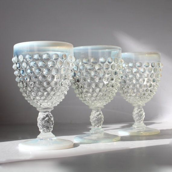 fenton french opalescent hobnail water goblet x 3 by hallingtons