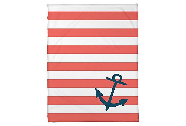 Striped Anchor Throw Blanket, Coral  Baby M's Room Color scheme #coral #navy