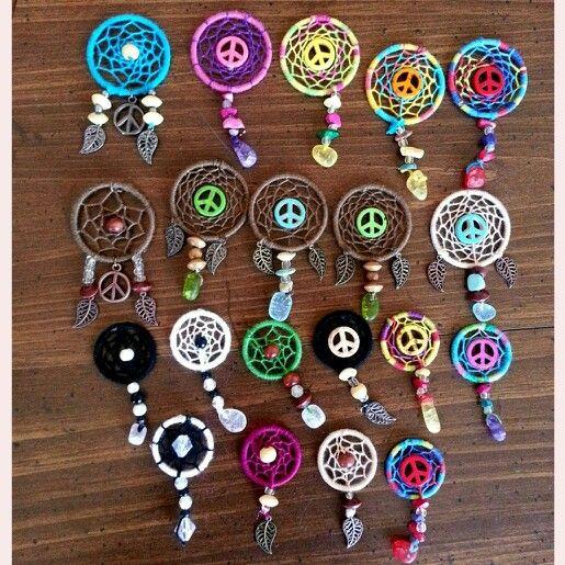 Mini dream catcher pendants , dream catcher , diy , jewelry , peace sign ,  Purchase on Facebook: Summer Serenity 13