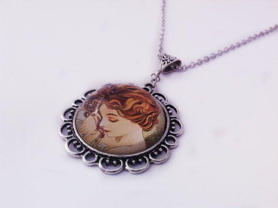 Sleeping Beauty Cameo Necklace Glass by JewelleryByKassandra