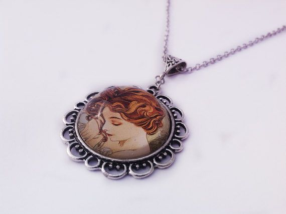 Sleeping Beauty Cameo Necklace Glass by JewelleryByKassandra