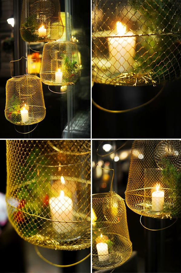 crayfish nets as lights/flower containers