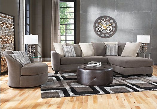 Charcoal 3 pc sectional living room at rooms to go find living room