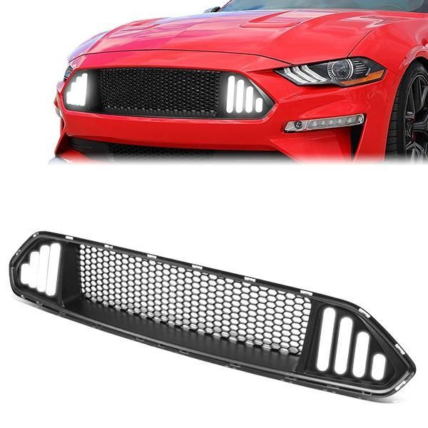 18 20 Ford Mustang Front Upper Bumper Grille W Antenna Led Drl Badgeless Honeycomb Mesh In 2021 Ford Mustang Mustang Bumpers