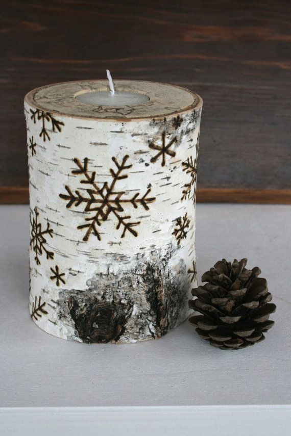 snowflakes on birch wooden tealight holders woodburning - Tea Light Candle Holders