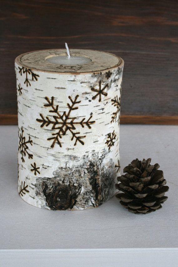 snowflakes on birch wooden tealight holders woodburning