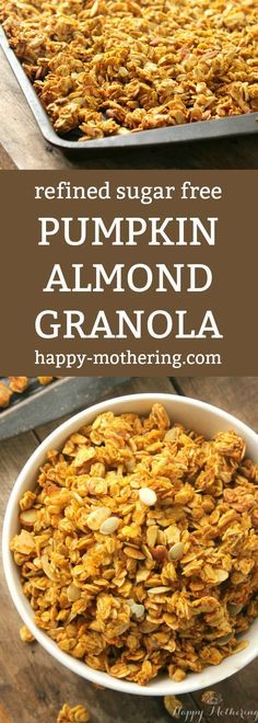 Tired of super sugary granola from the grocery store? This Pumpkin Almond Granola Cereal is free of refined sugar and it's super tasty too!