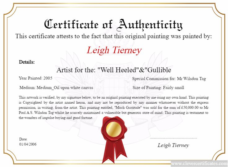 Artist maker design download and print your free for Artist certificate of authenticity template
