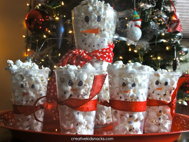 Snowman Popcorn Cups. Fun for a class party. Keep in mind not for children under 2yrs old.