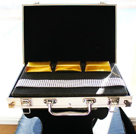 gold bar chocolate and jewels in a briefcase