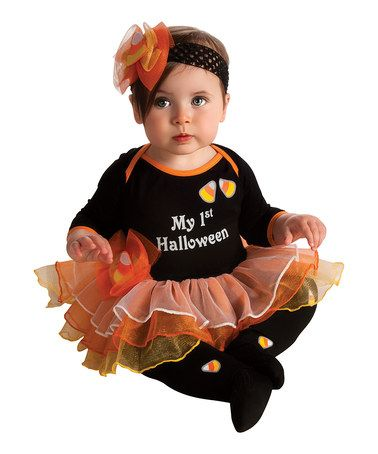 Another great find on #zulily! Black & Orange 'my 1st Halloween' Tutu Dress-Up Set - Infant #zulilyfinds